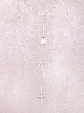 Hanging Cross Layered Necklace Anarchy Street Silver
