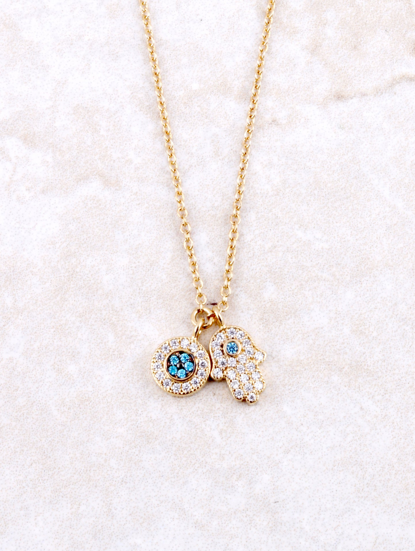 Pave Hamsa And Evil Eye Necklace Anarchy Street Gold