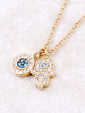Pave Hamsa And Evil Eye Necklace Anarchy Street Gold - Details