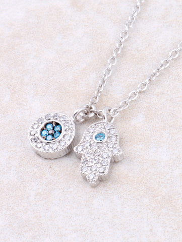 Pave Hamsa And Evil Eye Necklace Anarchy Street Silver - Details