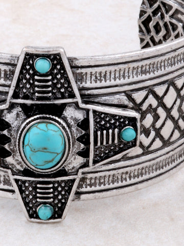 Turquoise Cross Cuff Bracelet Anarchy Street Silver - Details