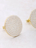 Pave Button Earrings