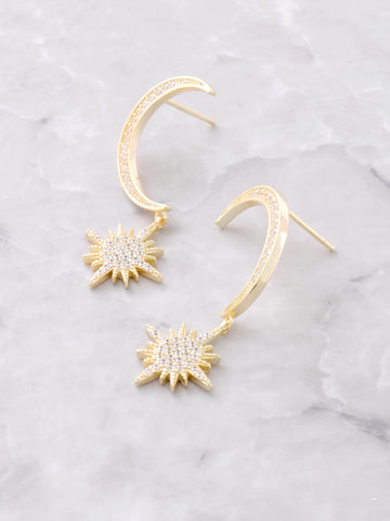 Lunar Eclipse Sterling Silver Earrings Anarchy Street Gold - Details