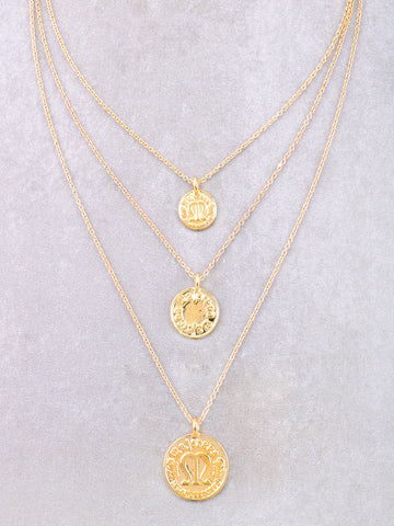 Triple Coin Layered Necklace