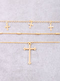 Hanging Crosses Layered Necklace Anarchy Street Gold - Details