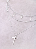 Hanging Crosses Layered Necklace Anarchy Street Silver