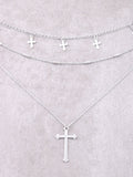Hanging Crosses Layered Necklace Anarchy Street Silver - Details