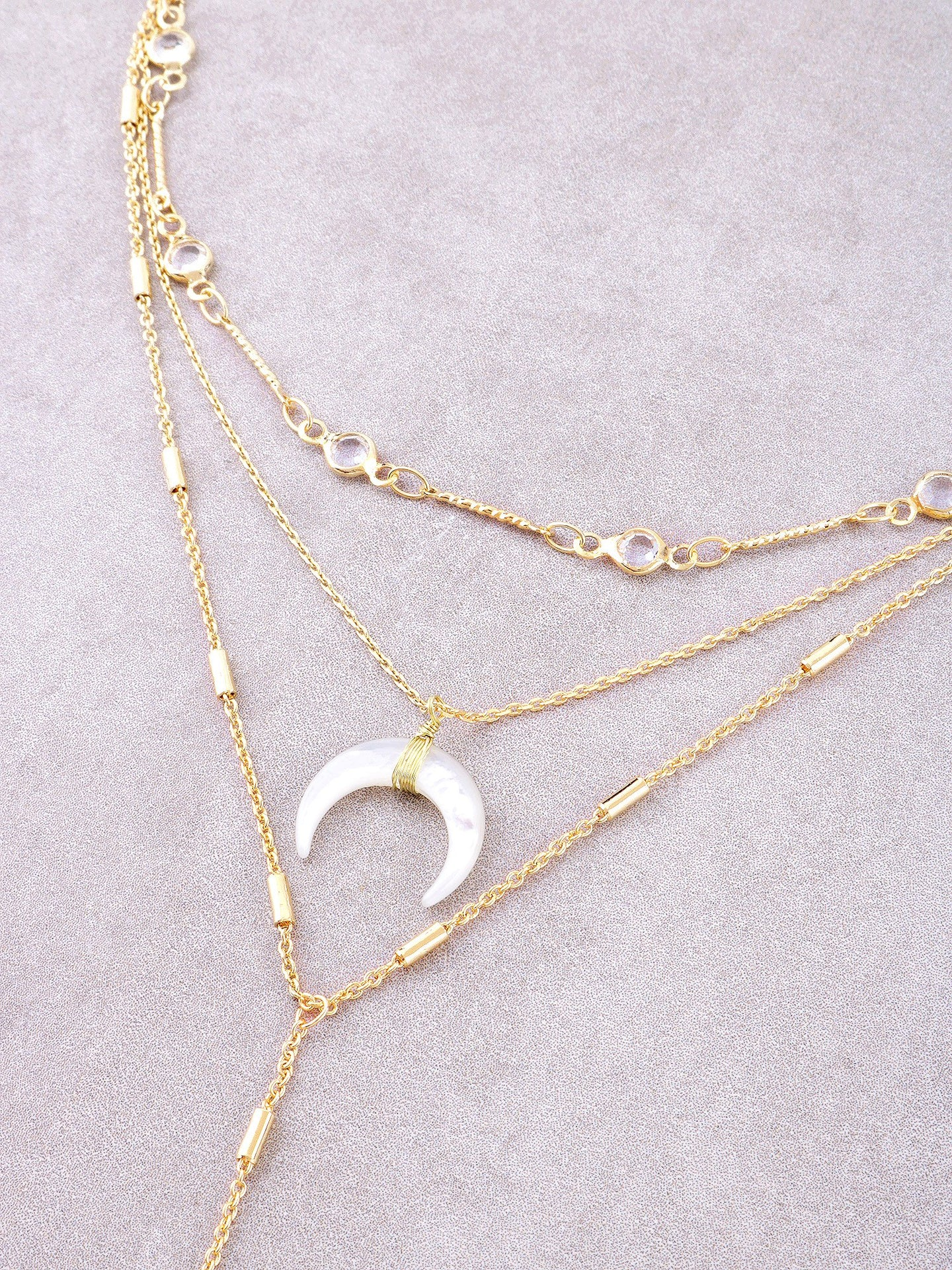 Opulent Crescent Layered Necklace Anarchy Street Gold