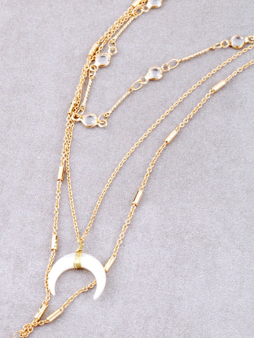 Opulent Crescent Layered Necklace Anarchy Street Gold - Details