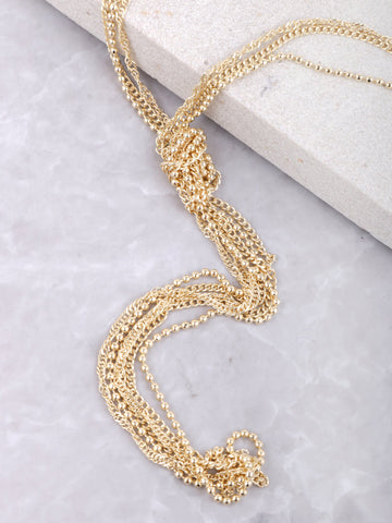 Knotted Layered Necklace Anarchy Street Gold - Details