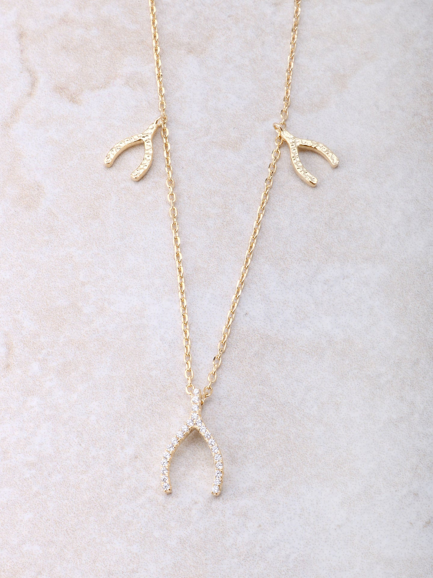 Triple Wishbone Necklace Anarchy Street Gold