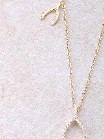 Triple Wishbone Necklace Anarchy Street Gold - Details