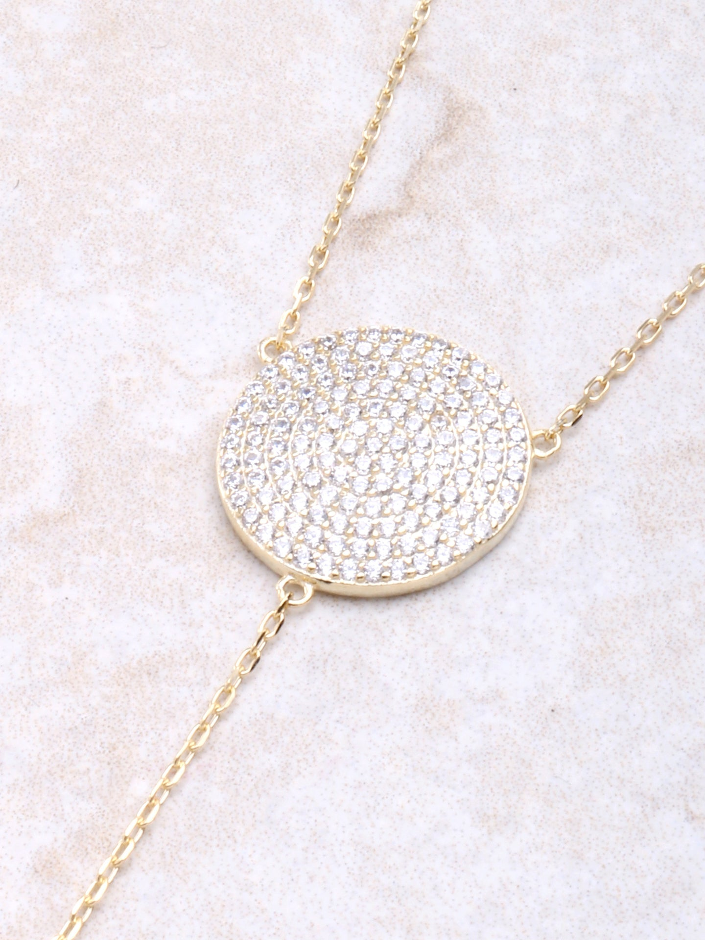 Pave Circle Lariat Necklace Anarchy Street Gold - Details