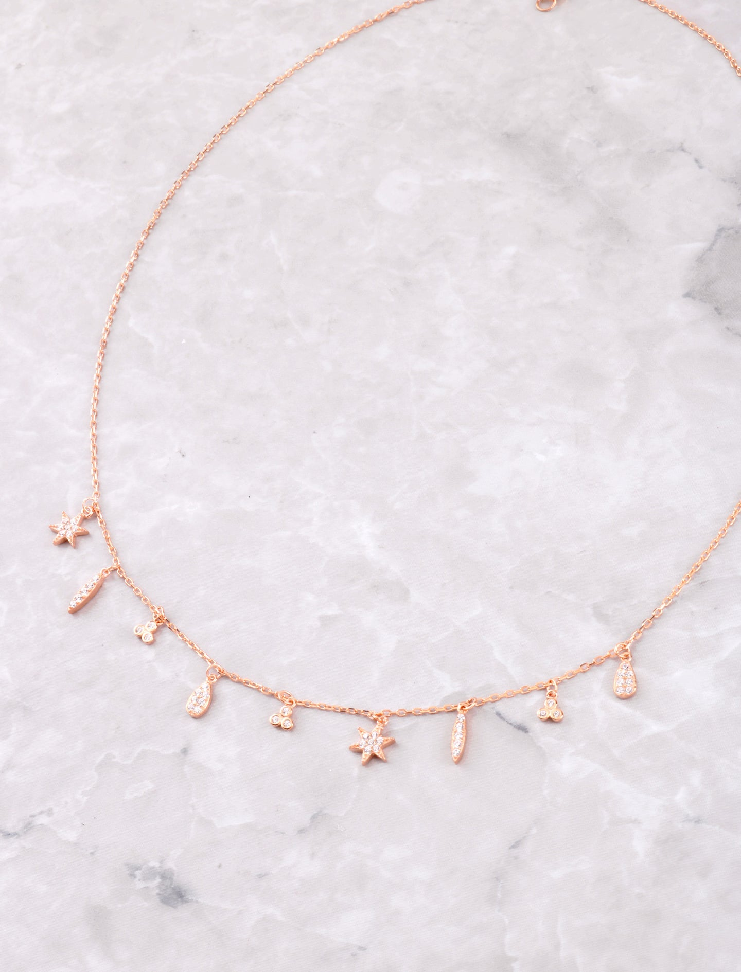 Hanging Symbols Necklace Anarchy Street Rosegold