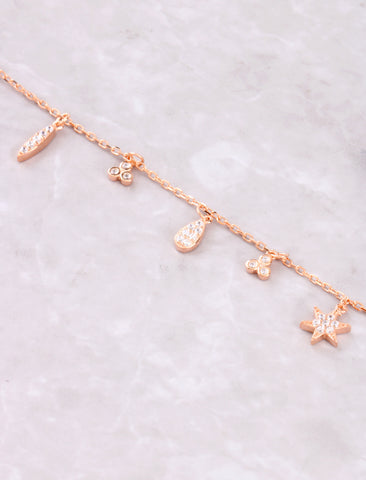 Hanging Symbols Necklace Anarchy Street Rosegold - Details