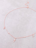 Sterling Silver Triple Cross Necklace Anarchy Street Rosegold