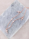 Sterling Silver Triple Cross Necklace Anarchy Street Rosegold - Details