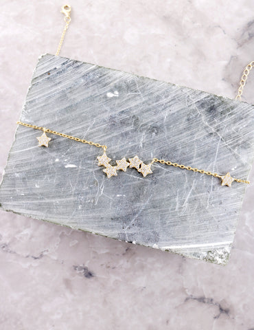 Star Clustered Necklace Anarchy Street Gold - Details