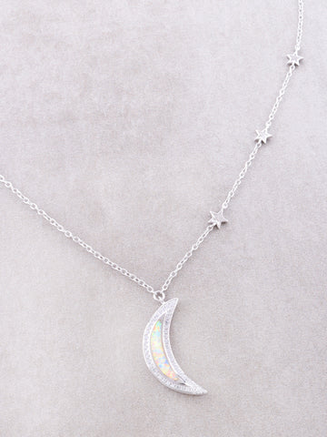 Sterling Silver Opal Moon Necklace Anarchy Street Silver - Details