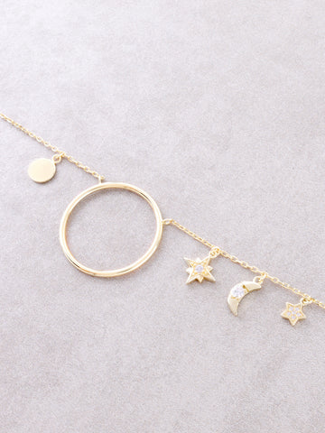 Sterling Silver Over The Moon Necklace Anarchy Street Gold - Details