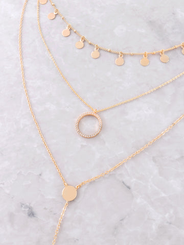 Disk Layered Necklace Anarchy Street Gold - Details 1