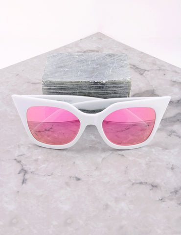 Poolside Cat Eye Sunglasses Anarchy Street White_Pink