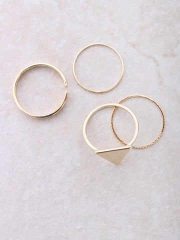 Pyramid Midi Ring Set Anarchy Street Gold