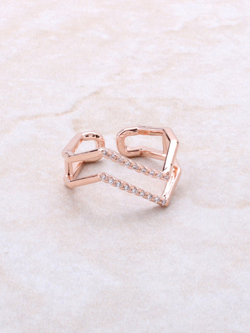 Pave Jagged Ring Anarchy Street Rosegold