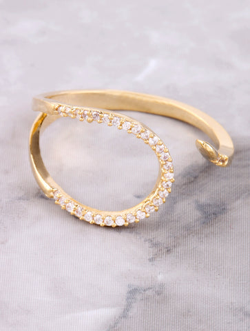 Pave Curved Line Ring Anarchy Street Gold - Details