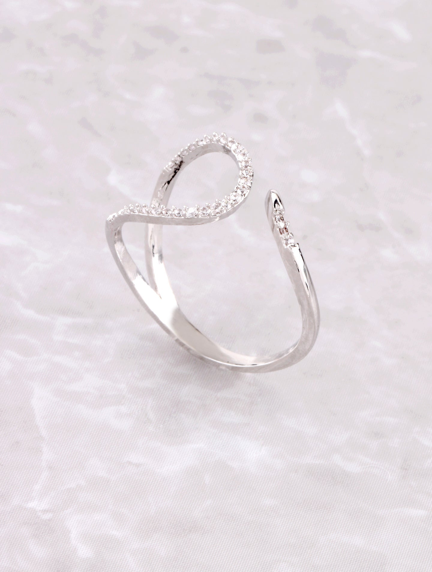 Pave Curved Line Ring Anarchy Street Silver