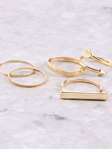 Minimalist Ring Set Anarchy Street Gold - Details