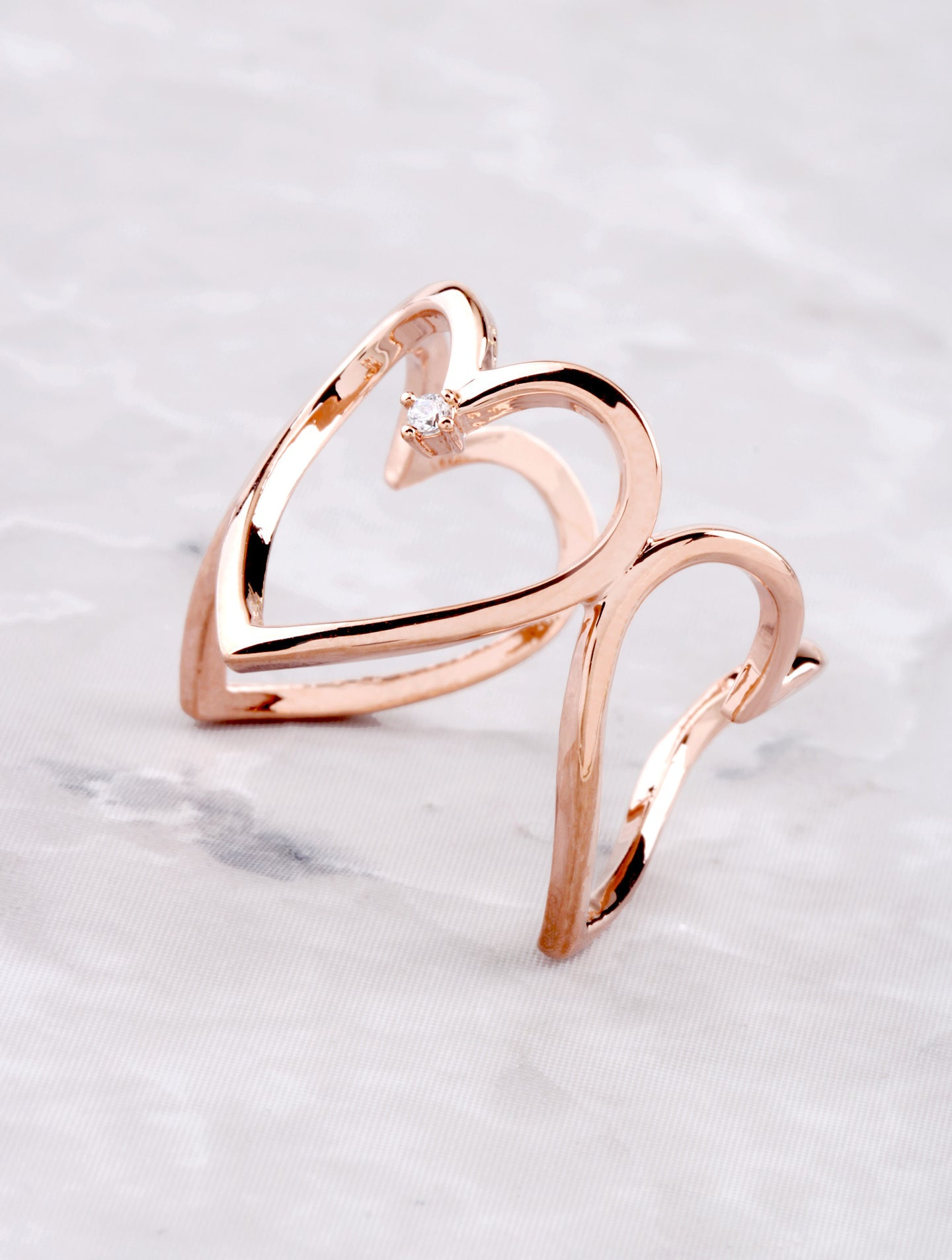 3D Heart Ring Anarchy Street Rosegold