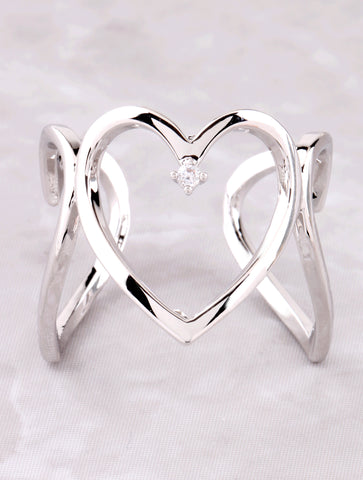 3D Heart Ring Anarchy Street Silver - Details