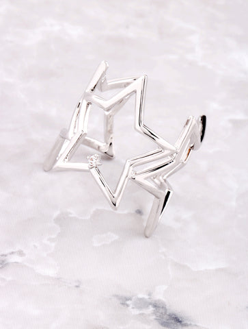 3D Star Ring Anarchy Street Silver