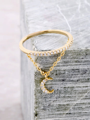 Pave Pendant Ring Anarchy Street Gold - Moon