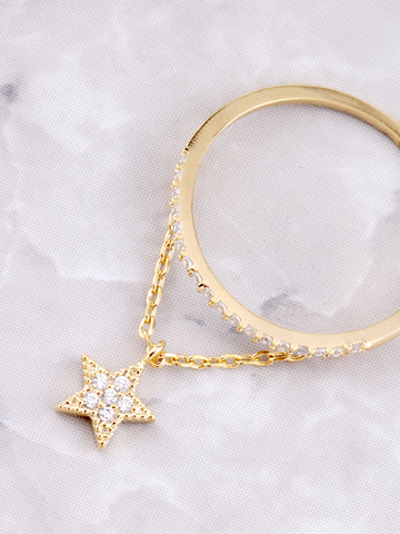 Pave Pendant Ring Anarchy Street Gold - Details - Star