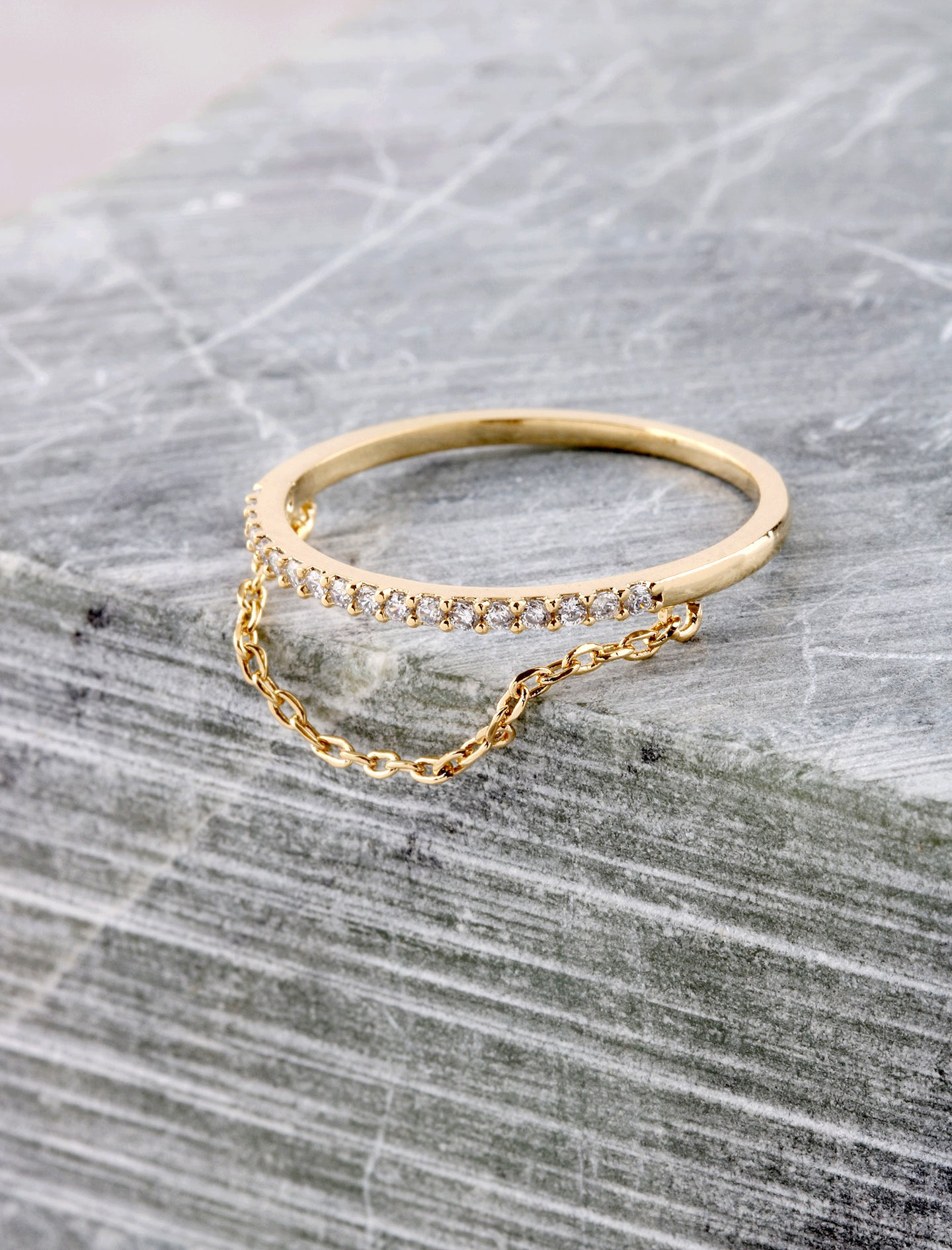 Pave Chain Ring Anarchy Street Gold
