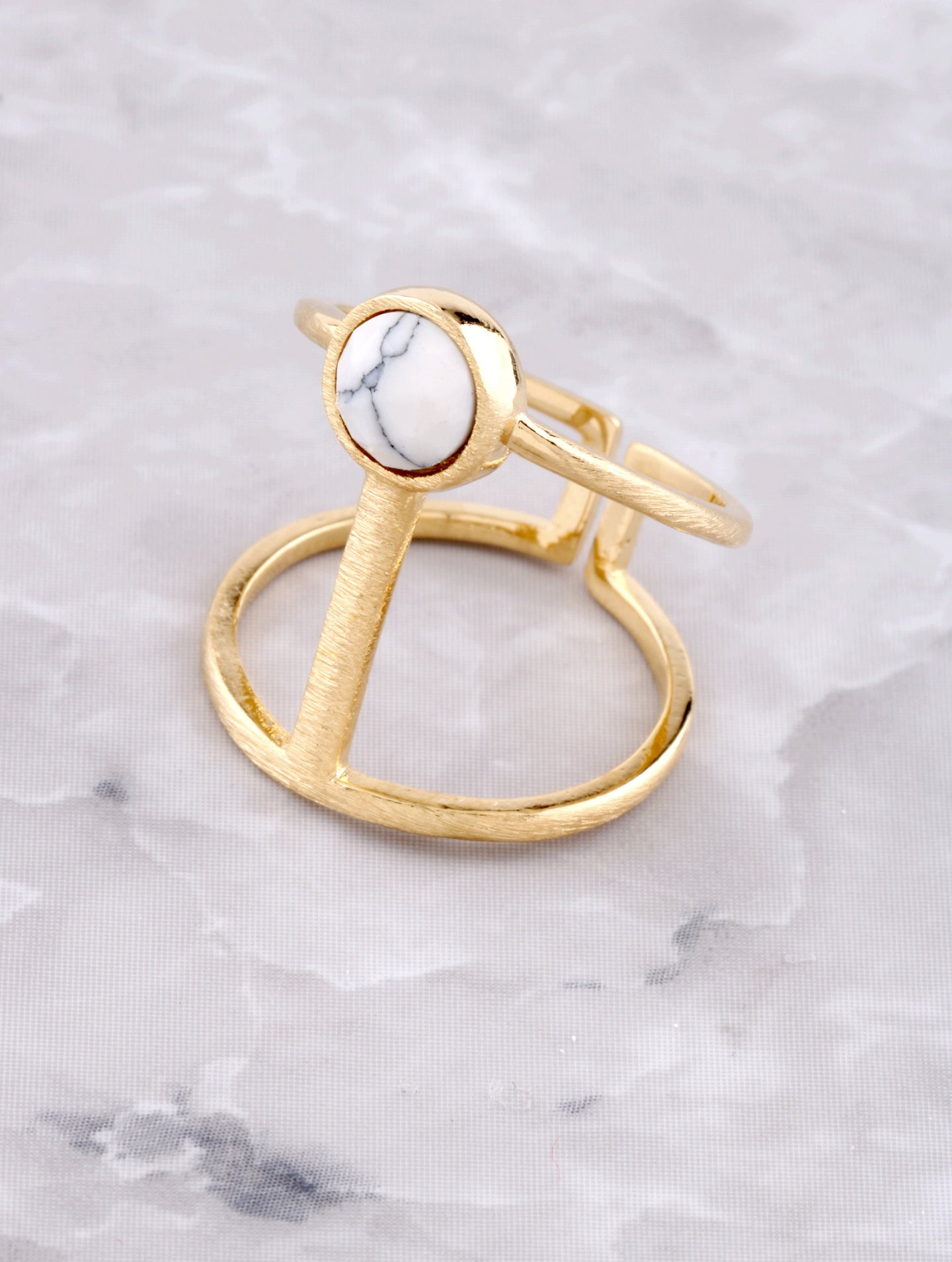 Marble Button Ring Anarchy Street White