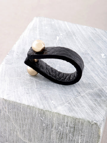 Leather Barbell Ring Anarchy Street Black