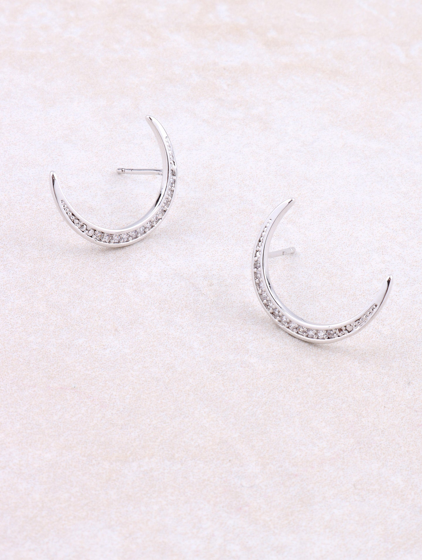 White Gold Pave Crescent Moon Earring Anarchy Street Whitegold
