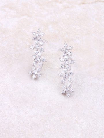 White Gold 4 Flowers Line Earring Anarchy Street Whitegold