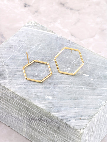 Hexagon Stud Earring Anarchy Street Gold