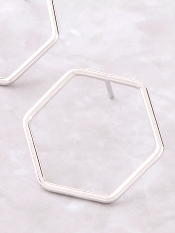 Hexagon Stud Earring Anarchy Street Whitegold - Details