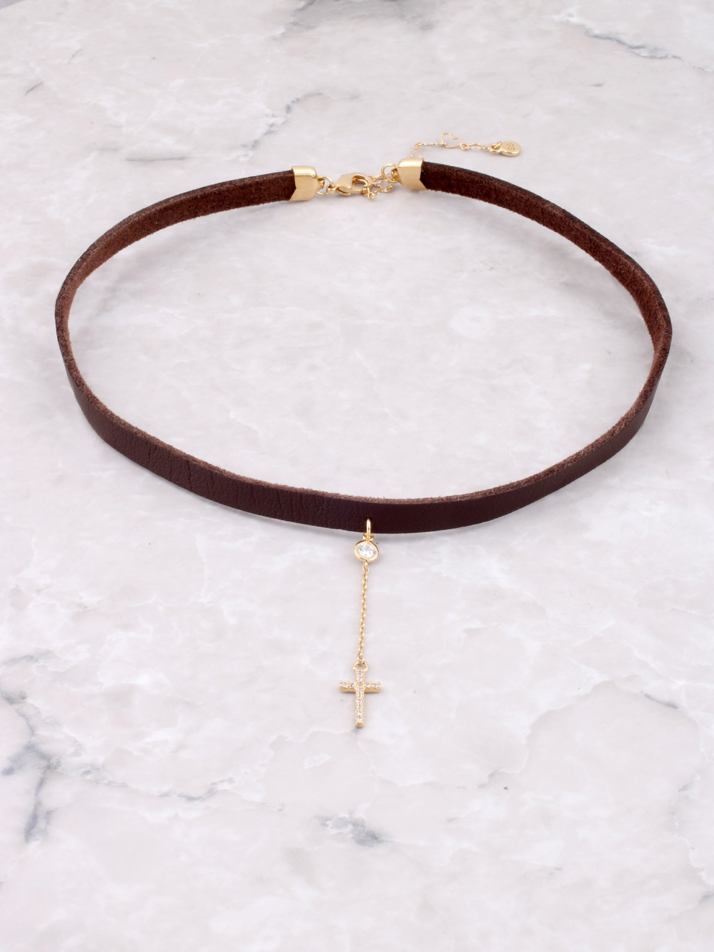 Pave Cross Hanging Choker Anarchy Street Gold