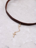 Pave Cross Hanging Choker Anarchy Street Gold - Details