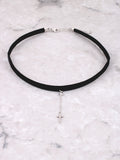 Pave Cross Hanging Choker Anarchy Street Whitegold