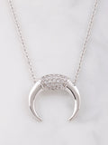 14K Pave Horn Necklace Anarchy Street Silver - Details