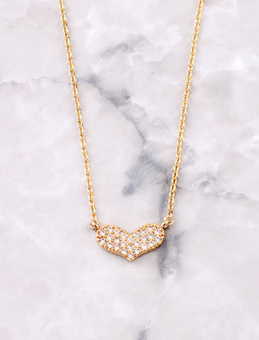Pave Heart Necklace Anarchy Street Gold