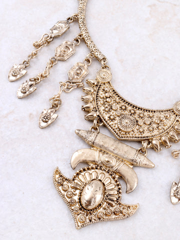 Opulent Statement Necklace Anarchy Street Gold - Details