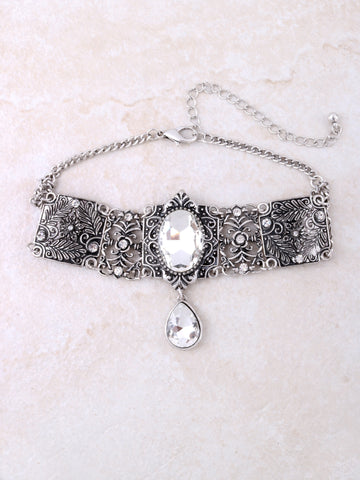 Jeweled Choker Anarchy Street Silver